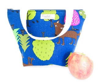 Insulated Lunch Tote Bag with Waterproof Lining - Wolves and Trees (Dark Blue)