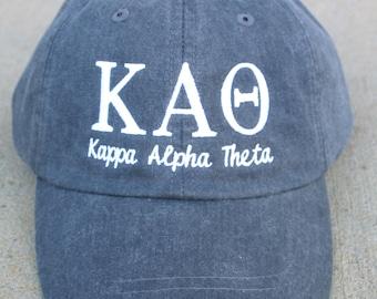 Kappa Alpha Theta with script baseball cap