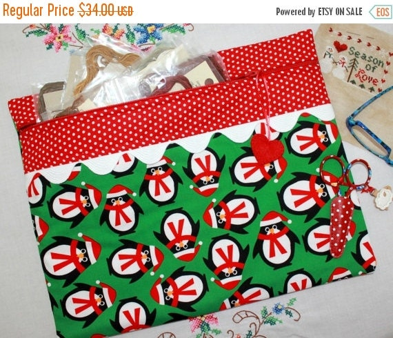 SALE Green  & Red Penguin Cross Stitch, Sewing, Embroidery Project Bag