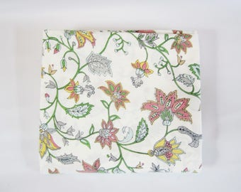 Vintage Flat Sheet PASTEL BOTANICALS 1980s KING Sheet
