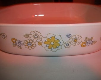 Corning Ware A-8-B Quart Floral Bouquet 3rd Edition Print Casserole Dish