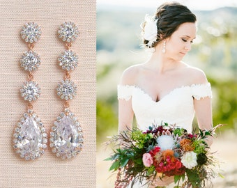 Rose Gold Bridal earrings, Wedding jewelry, Long Wedding earrings Bridal jewelry, Erica Earrings