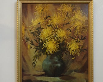 """Vintage lithograph FIJI MUMS of F. VARLEY, Museum print editions, framed, great wooden gilded frame.17 3/4"""" x 21 3/4"""" with the frame. gift"""