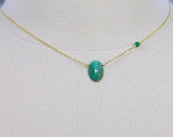 Emerald Choker by Agusha. Single Gem Emerald Necklace. Emerald Cheoker