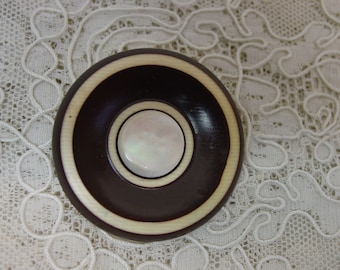 """Vintage Celluloid Button Large Wafer, Two color with Pearl Center 1 & 5/8"""""""