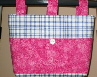 Adult Woman Cotton Walker Bag Tote Caddy Purse – Blue and White Plaid Bag, Hot Pink & White Butterfly Floral Pockets 3 Straps, White Button