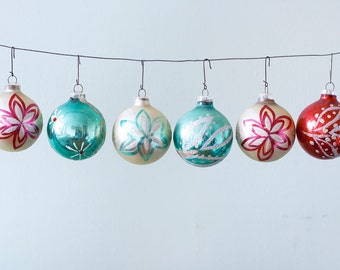 Set of 6 Hand Painted Vintage Christmas Glass Ornaments