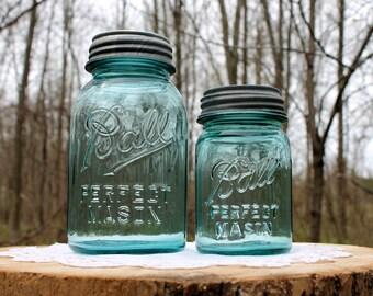 2 Aqua Ball GRIPPER RIB Perfect Mason Jars w NOS Zinc Lids ~ 1 Quart 1 Pint ~ Ball Ribbed Mason ~ Wedding ~ Farmhouse ~ Insurance w Shipping