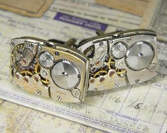 STEAMPUNK Cuff Links Cufflinks - Torch SOLDERED - Vintage Rectangular LONGINES Watch Movements w Patina - Wedding Birthday Gift - Bold Set