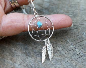 Dreamcatcher Necklace - Sterling Silver Turquoise Dreamcatcher - Two Feathers Necklace -  Delicate Sterling Silver Necklace - Native - Boho