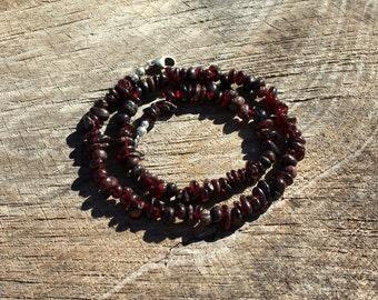 Garnet Necklace - Gemstone Necklace - January Birthstone Necklace - Beaded Necklace - Dark Red Garnet - Wrap Bracelet - Choker Style