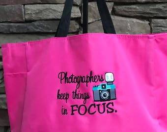 Photographer Tote Bag, Professional Tote Bag, Large Tote Bag Many Colors and Free Personalization