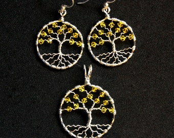 Jewelry Gift Set - Tree of Life Pendant and Earrings in Sterling Silver and Choice of Swarovski Birthstone Crystals
