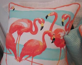 Tropical Flamingo Pillow - Beach Designer Pillow  - Coral Aqua Flamingo Decorative Pillow - Coral Pink Flamingo - Large Flamingo Pillow