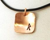 Viking Rune Necklace / Elder Futhark Necklace / Raidho Necklace / Pagan Necklace / Wiccan Necklace / Copper NecklaceElder Futhark Runes