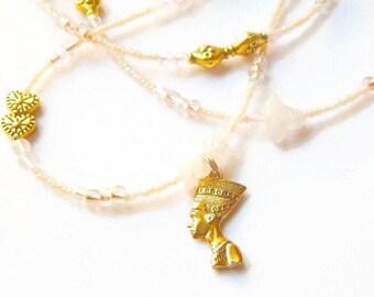 Pink Waist Beads, Nefertiti  Rose Quartz Waist Beads,  Egyptian Queen  Belly Chain, Rose Quartz Nefertiti  Waist Beads