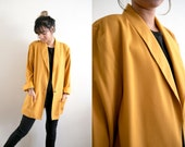 Vintage Yellow Mustard Jacket / Yellow Knit Blazer / Oversized Button Mustard Coat / Slouchy with Pockets Long 90s Grunge Duster Jacket