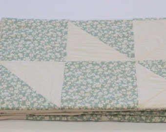 Teal Lap Quilt, Sofa Quilt, Quilted Throw