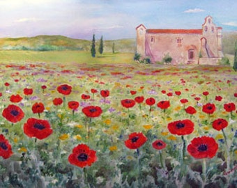 Poppies At A Tuscan Monastery Acrylic Painting