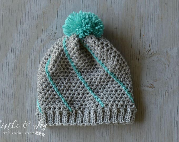 Diagonal Hatch Slouchy Hat Crochet Pattern PDF DOWNLOAD