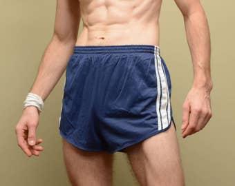 vintage marathon shorts 70s 80s blue white stripe nylon running gym shorts athletic trunks mens womens vintage M/L