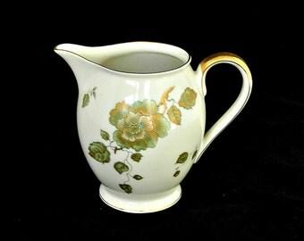Vintage Bavarian Porcelain Cream Pitcher, Hertel-Jacob Porzellan Bavaria Germany, Golden Wild Rose Pattern, 1967 -  1969.