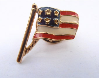 Vintage American Flag Pin Red White Blue Pole U.S.A. Stars Striples Waving Wave Gold Tone Lapel Beret Hat Fourth July 4th Patriotic Veteran