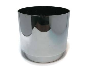 Vintage 1970s Keystone Architectural Chrome Plated Metal Planter Cachepot Flower Pot Modernist black interior