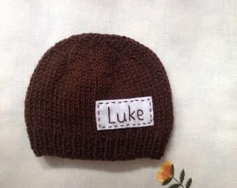 Newborn photo prop, brown newborn hat, personalized newborn hat with name, newborn boy, monogram baby hat, , name beanie, newborn knit hats