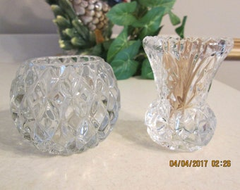 Vintage Cut Glass Toothpick Holder, Cut Glass Votive Holder, Home Decor, Flower Holder,
