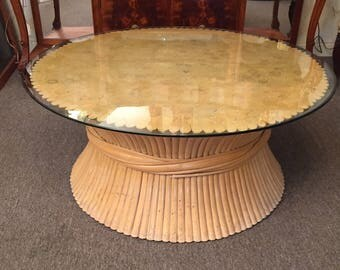 Sheaf of Wheat Coffee Table McGuire Style Bamboo Rattan Pick up only Houston Area