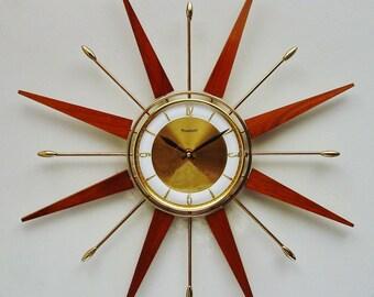 Starburst Clock , Sunburst Clock, mid century modern Forestville
