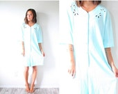 30% OFF VALENTINES SALE Vintage blue nightgown romper dress // oversized romper // simple nighty romper // eyelet romper dress // light blue