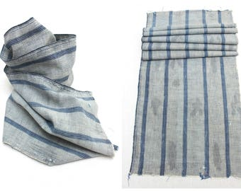 Japanese Artisan Hand Loomed Ikat. Vintage Cotton Scarf. Striped Indigo Folk Textile Supply Fabric (Ref: 1538)