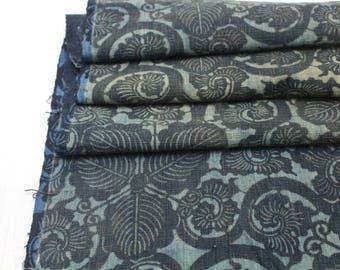 Antique Boro Textile. Japanese Katazome Cotton. Indigo / Aizome Fabric (Ref:1718 )