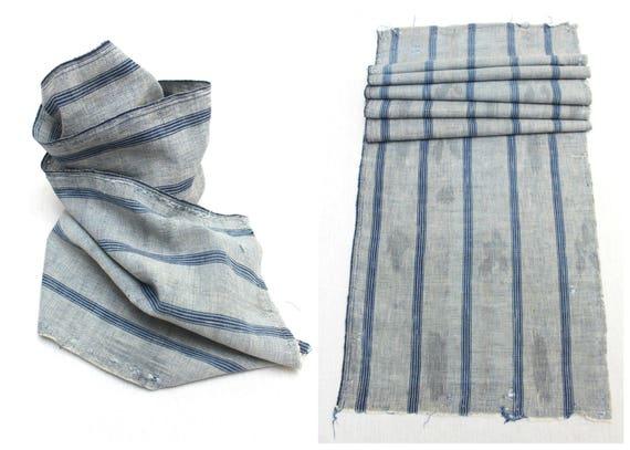 Japanese Artisan Hand Loomed Ikat. Vintage Cotton Scarf. Striped Indigo Folk Textile Supply Fabric (Ref: 1538)