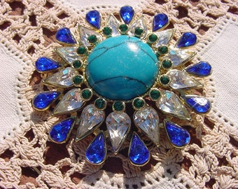 Turquoise Rhinestone Golden Starburst Vintage Pin Brooch
