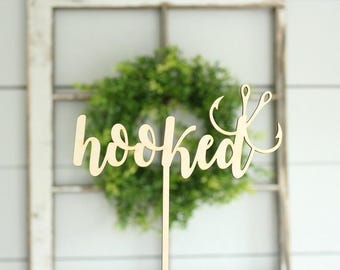 Hooked Cake Topper Fishing Cake Topper Rustic Wedding Cake Topper Country Wedding