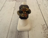 Unique Vintage Antique Brass Tone Snake Ring w/ Amber Colored Stones, Size 7 1/2
