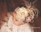 Ivory and Taupe Flower Lace & Ostrich Feather Jewel Headband Neborn Infant Toddler Child Big Girl Christening Baptism Headband