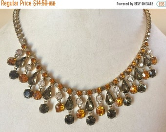 WINTER SALE Vintage Shabby Chic Orange Clear and Smoky Gray Rhinestone Dangle Necklace