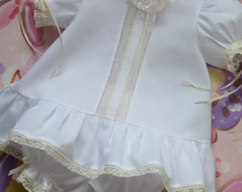 Heirloom Baby Dress, Bloomers and Bonnet
