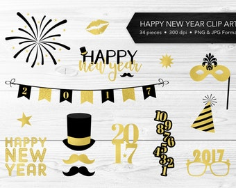 New Year Clip Art -- Black & Gold, Gold Foil, Happy New Year, 2017, Masquerade, New Year's Eve, Scrapbook, Commercial Use, Instant Download