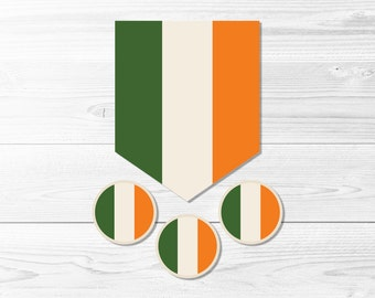 Irish Flag Banner & Round Label Set  -- Ireland, Flag of Ireland, St Patrick's Day, Party Decor, 2 Inch, 1 Inch, Printable, Instant Download