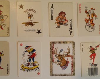 instant collection of 20 vintage JOKER playing cards   Joker card   vintage clowns   jokers   vintage playing cards   Joker   vintage Joker