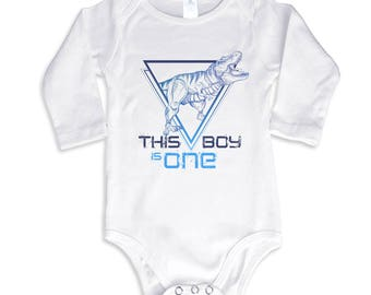 This Boy is Tyrannos Personalized Birthday boy Personalized Long Sleeve Bodysuit or Shirt
