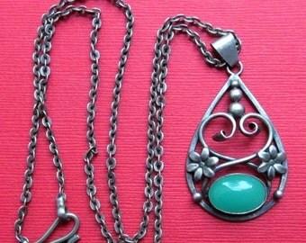 On Sale Antique 830 Silver Chrysoprase Scandinavian Flower Necklace