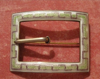 On Sale Antique Sterling Silver and Guilloche Enamel Buckle Brooch