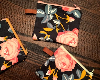 Navy Floral Corduroy Mini Zipper Pouch with Leather Accent