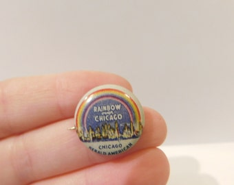 Antique Rainbow Over Chicago Pin Pinback Button From The Chicago Herald American DR5
